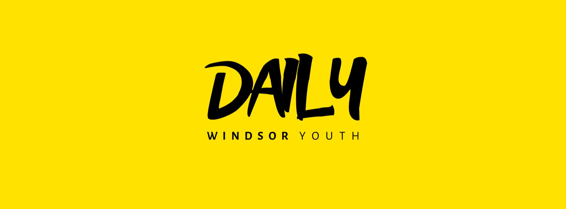 The Windsor Youth Daily podcast logo on a yellow background